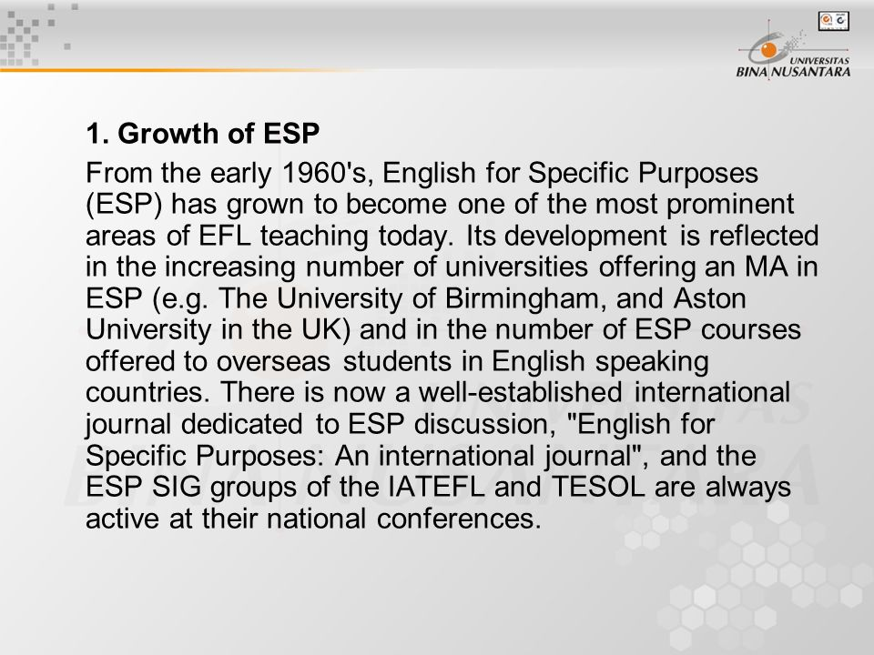 Module 01 Definition of ESP  What's Inside 1 History of ESP