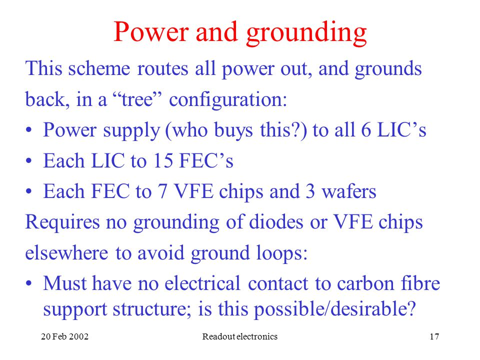 20 Feb 2002Readout electronics17 Power and grounding This scheme routes all power out, and grounds back, in a tree configuration: Power supply (who buys this ) to all 6 LIC's Each LIC to 15 FEC's Each FEC to 7 VFE chips and 3 wafers Requires no grounding of diodes or VFE chips elsewhere to avoid ground loops: Must have no electrical contact to carbon fibre support structure; is this possible/desirable