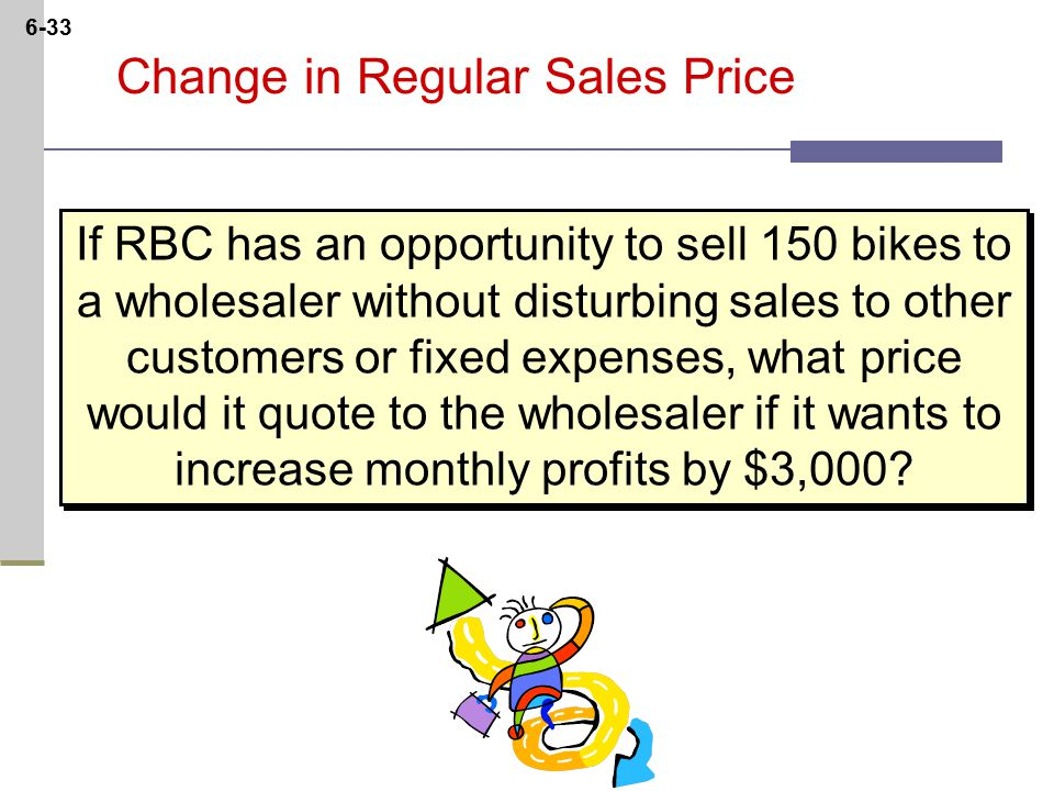 6-33 Change in Regular Sales Price If RBC has an opportunity to sell 150 bikes to a wholesaler without disturbing sales to other customers or fixed expenses, what price would it quote to the wholesaler if it wants to increase monthly profits by $3,000