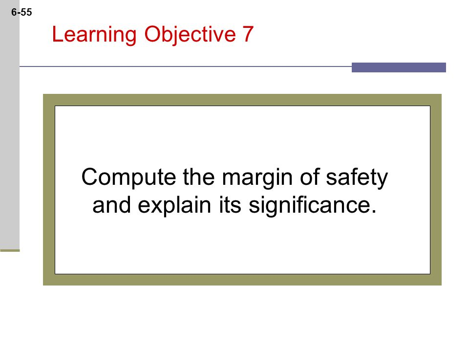 6-55 Learning Objective 7 Compute the margin of safety and explain its significance.