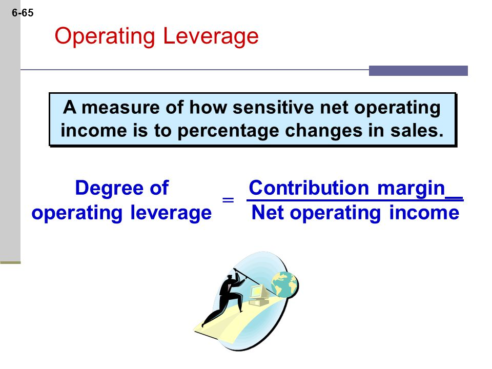 6-65 Operating Leverage Contribution margin Net operating income Degree of operating leverage = A measure of how sensitive net operating income is to percentage changes in sales.