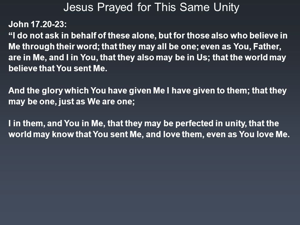 Jesus Prayed for This Same Unity John : I do not ask in behalf of these alone, but for those also who believe in Me through their word; that they may all be one; even as You, Father, are in Me, and I in You, that they also may be in Us; that the world may believe that You sent Me.