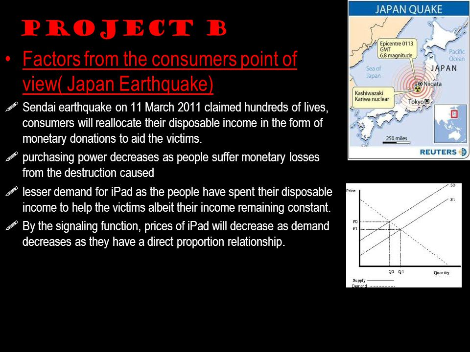 Project B Factors from the consumers point of view( Japan Earthquake)  Sendai earthquake on 11 March 2011 claimed hundreds of lives, consumers will reallocate their disposable income in the form of monetary donations to aid the victims.