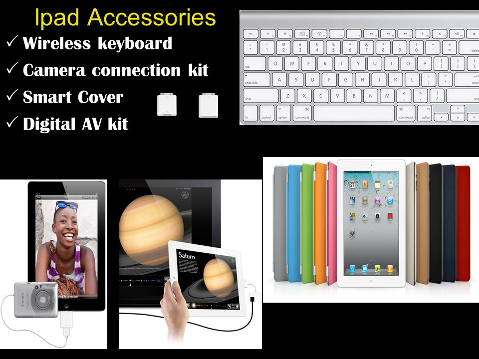 Ipad Accessories  Wireless keyboard  Camera connection kit  Smart Cover  Digital AV kit