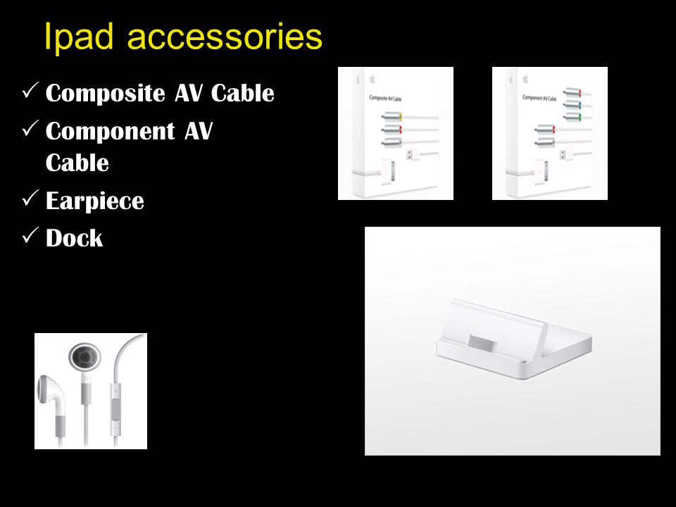 Ipad accessories  Composite AV Cable  Component AV Cable  Earpiece  Dock