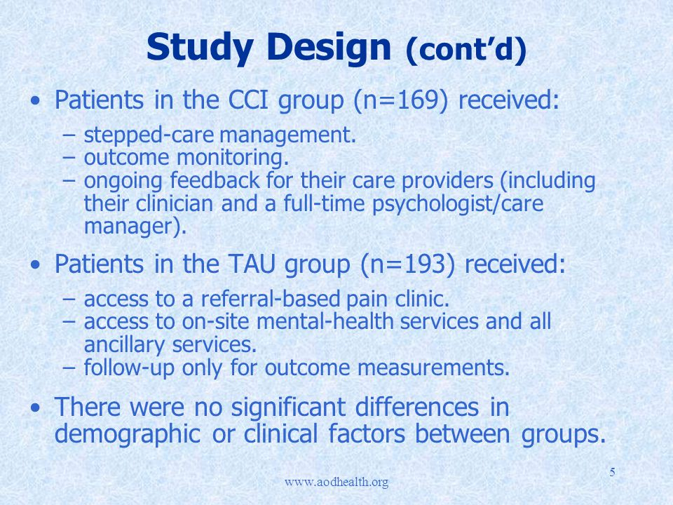 5 Study Design (cont'd) Patients in the CCI group (n=169) received: –stepped-care management.