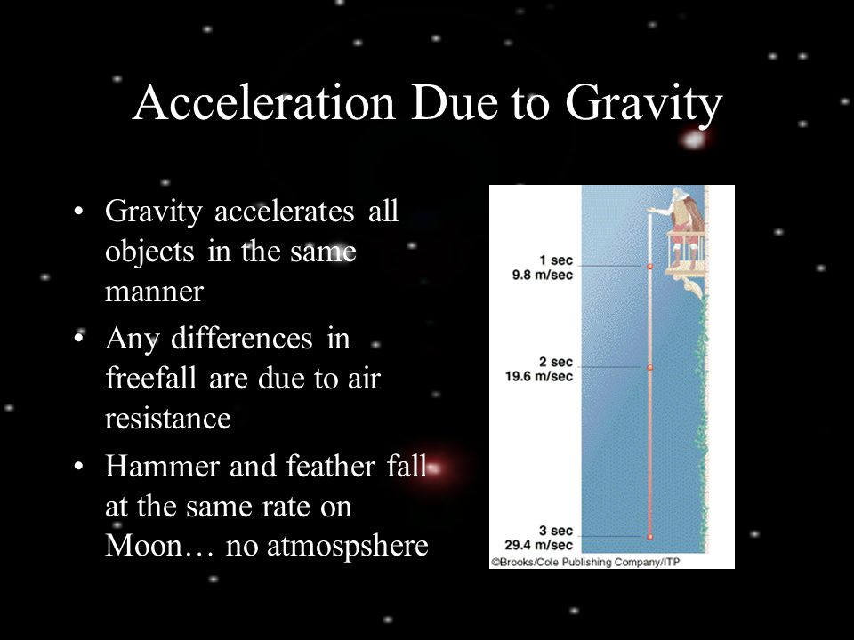 aee71324ec 1 Acceleration Due to Gravity Gravity accelerates all objects in the same  manner Any differences in freefall are due to air resistance Hammer and  feather ...