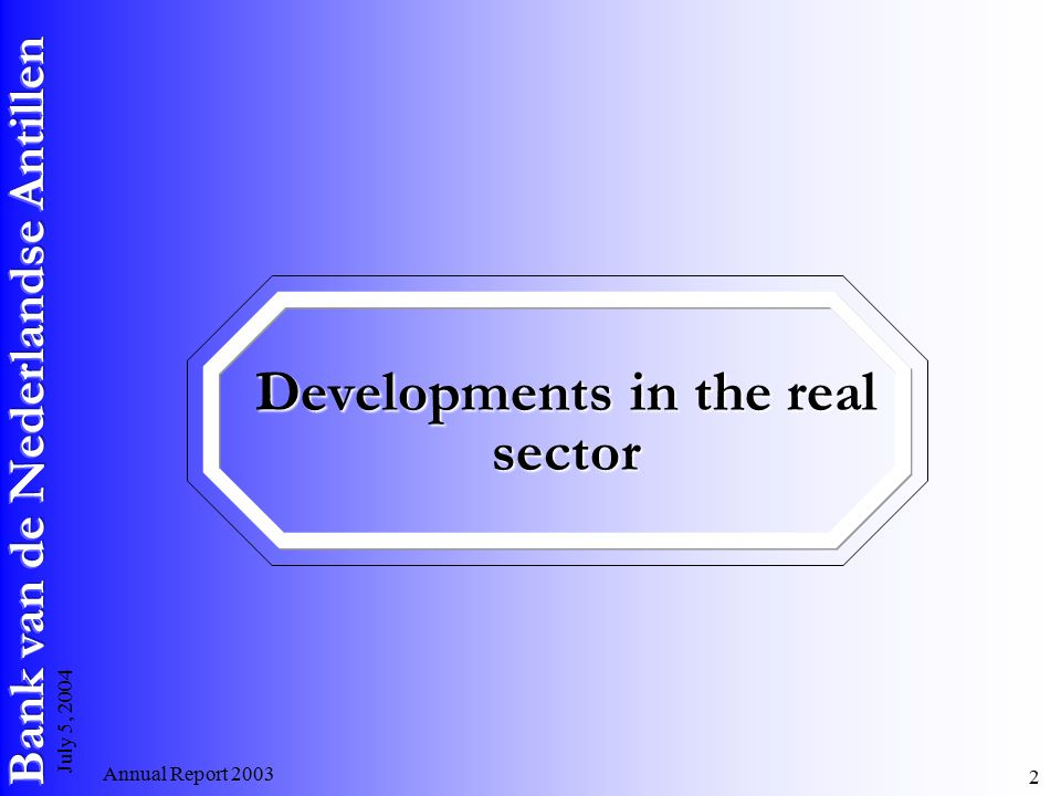 Annual Report July 5, 2004 Developments in the real sector