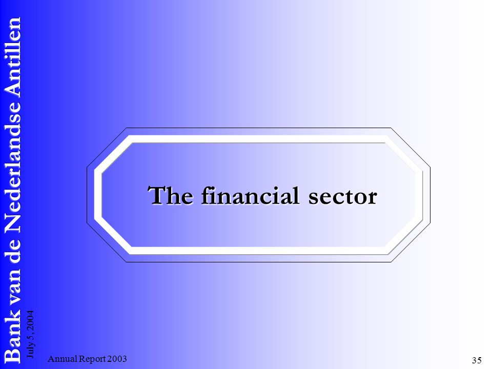 Annual Report July 5, 2004 The financial sector