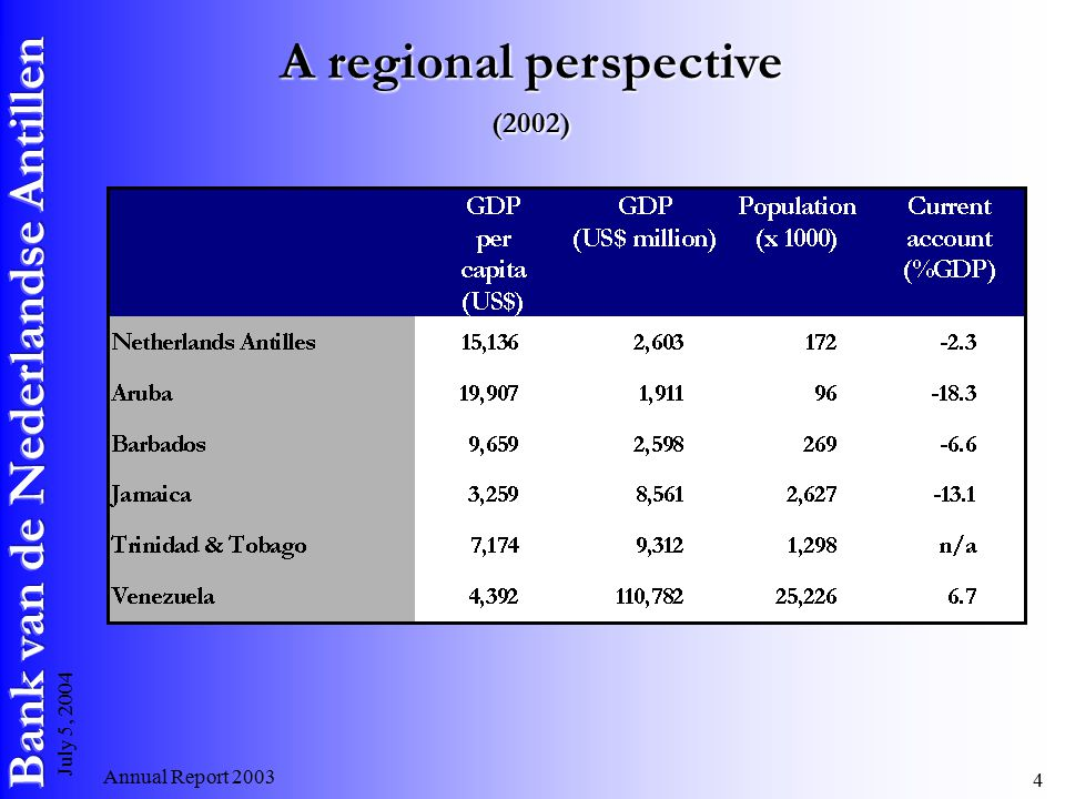 Annual Report July 5, 2004 A regional perspective (2002)
