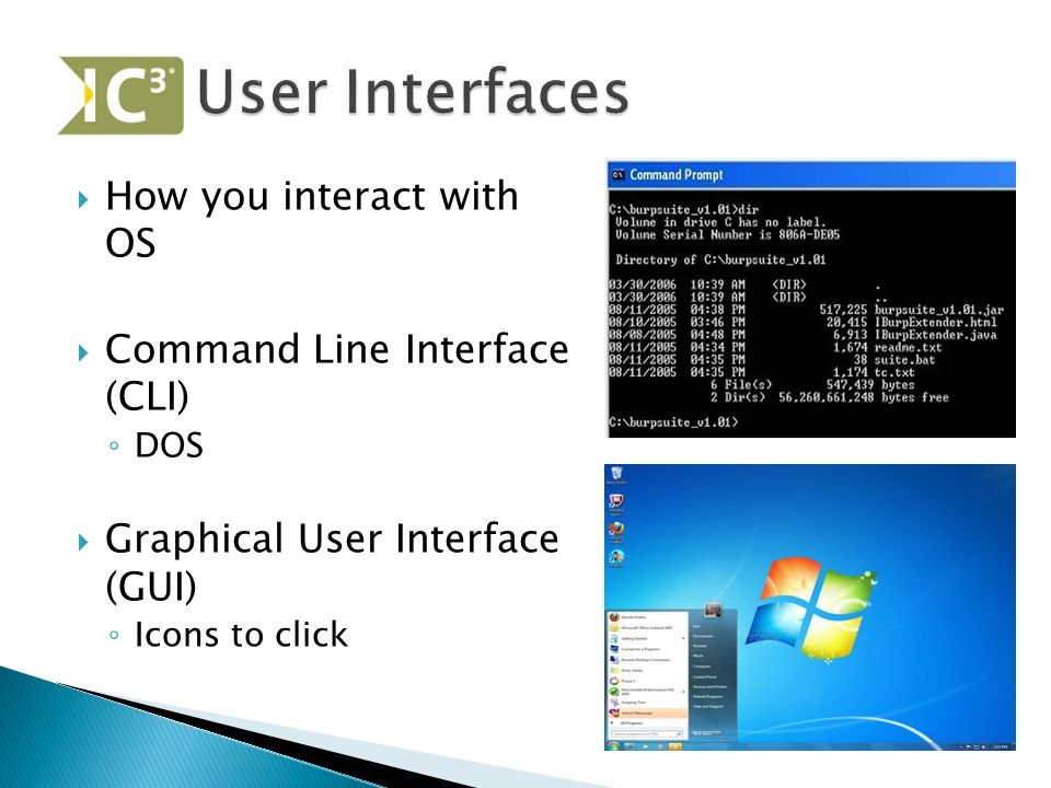  How you interact with OS  Command Line Interface (CLI) ◦ DOS  Graphical User Interface (GUI) ◦ Icons to click