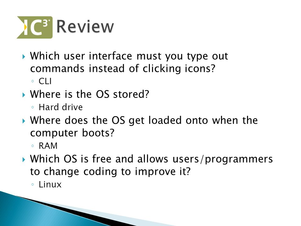  Which user interface must you type out commands instead of clicking icons.