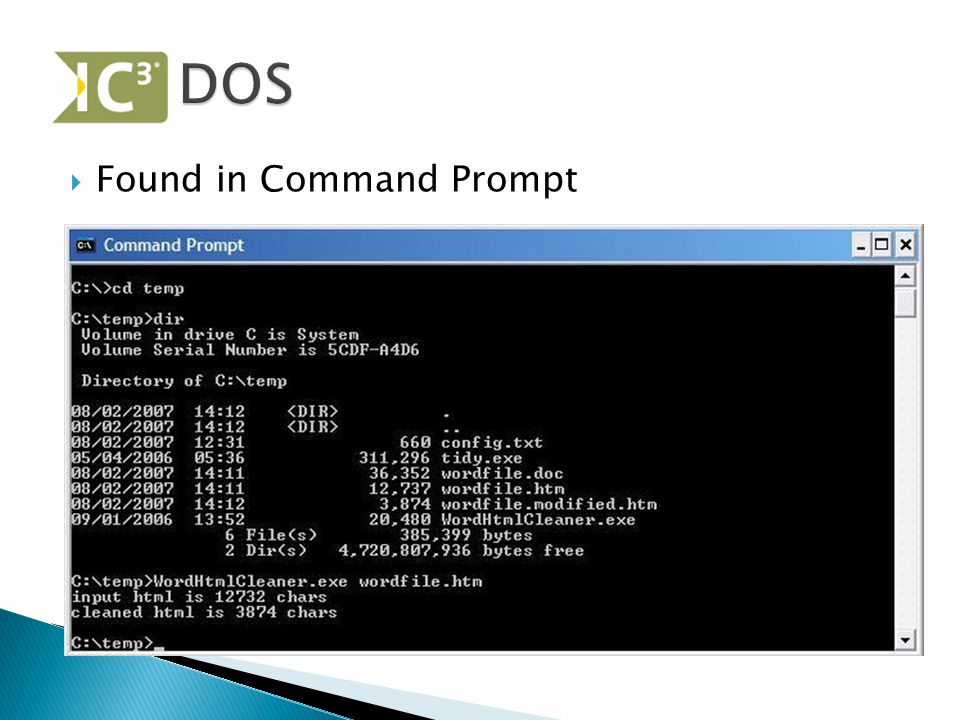  Found in Command Prompt