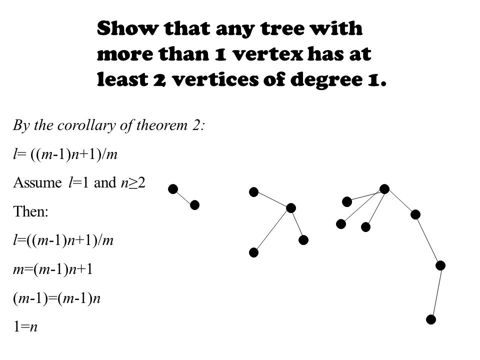 Show that any tree with more than 1 vertex has at least 2 vertices of degree 1.