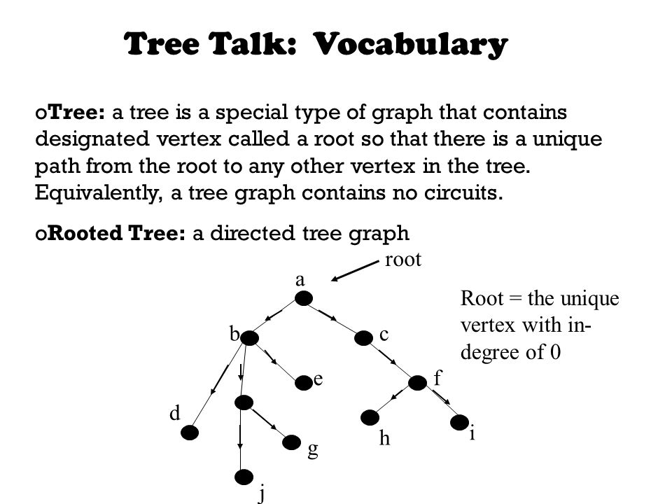 Tree Talk: Vocabulary oTree: a tree is a special type of graph that contains designated vertex called a root so that there is a unique path from the root to any other vertex in the tree.