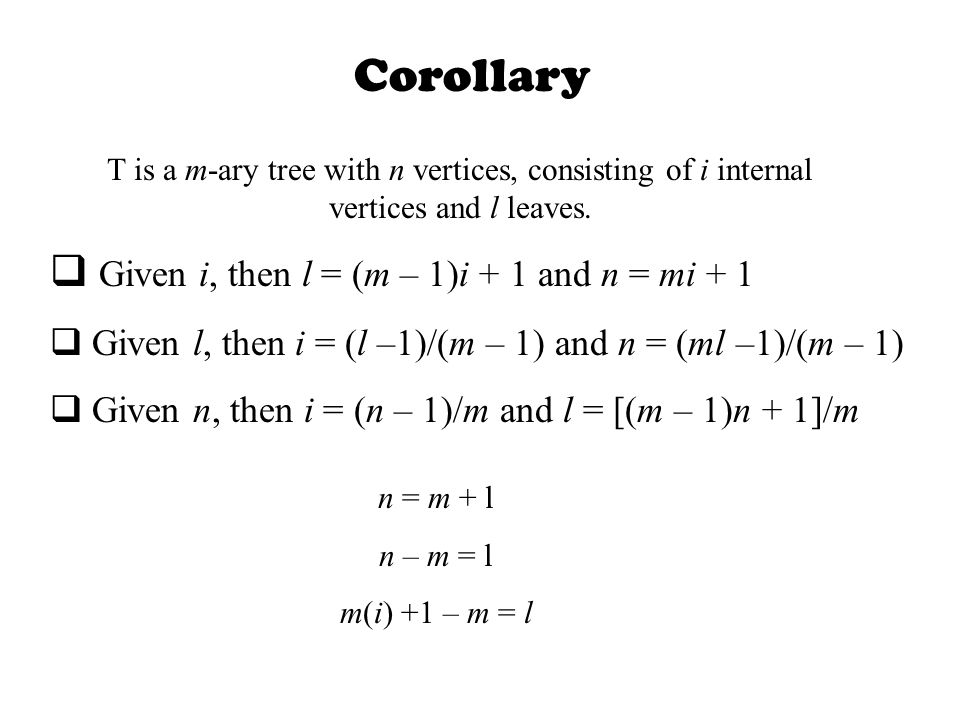 Corollary T is a m-ary tree with n vertices, consisting of i internal vertices and l leaves.