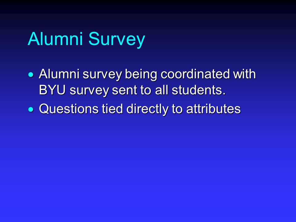 Alumni Survey  Alumni survey being coordinated with BYU survey sent to all students.