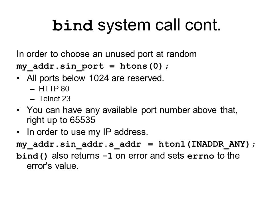 bind system call cont.