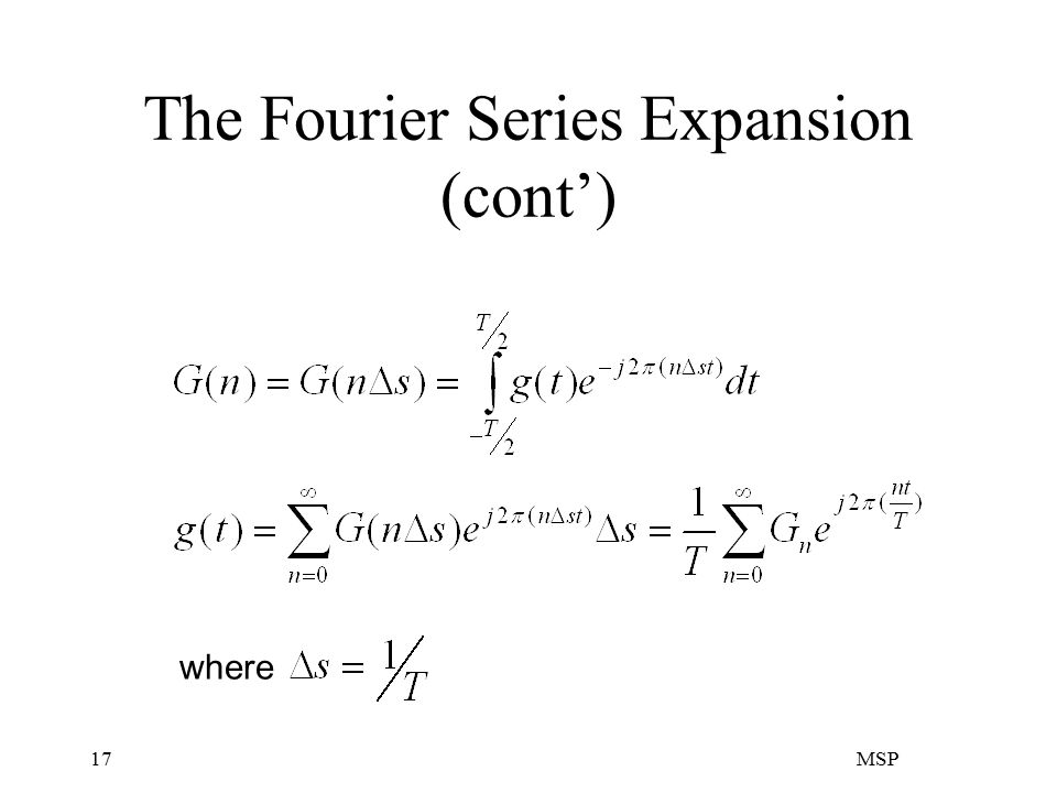 MSP17 The Fourier Series Expansion (cont') where