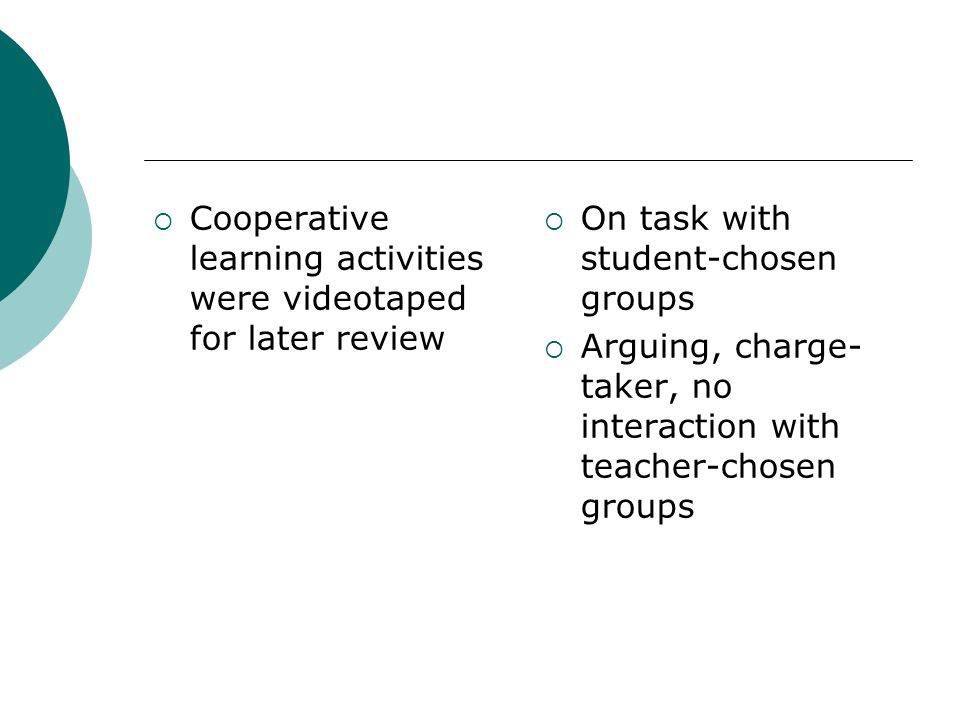  Cooperative learning activities were videotaped for later review  On task with student-chosen groups  Arguing, charge- taker, no interaction with teacher-chosen groups