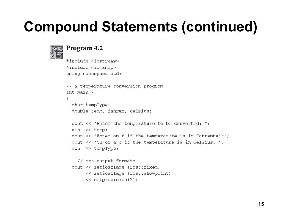 15 Compound Statements (continued)