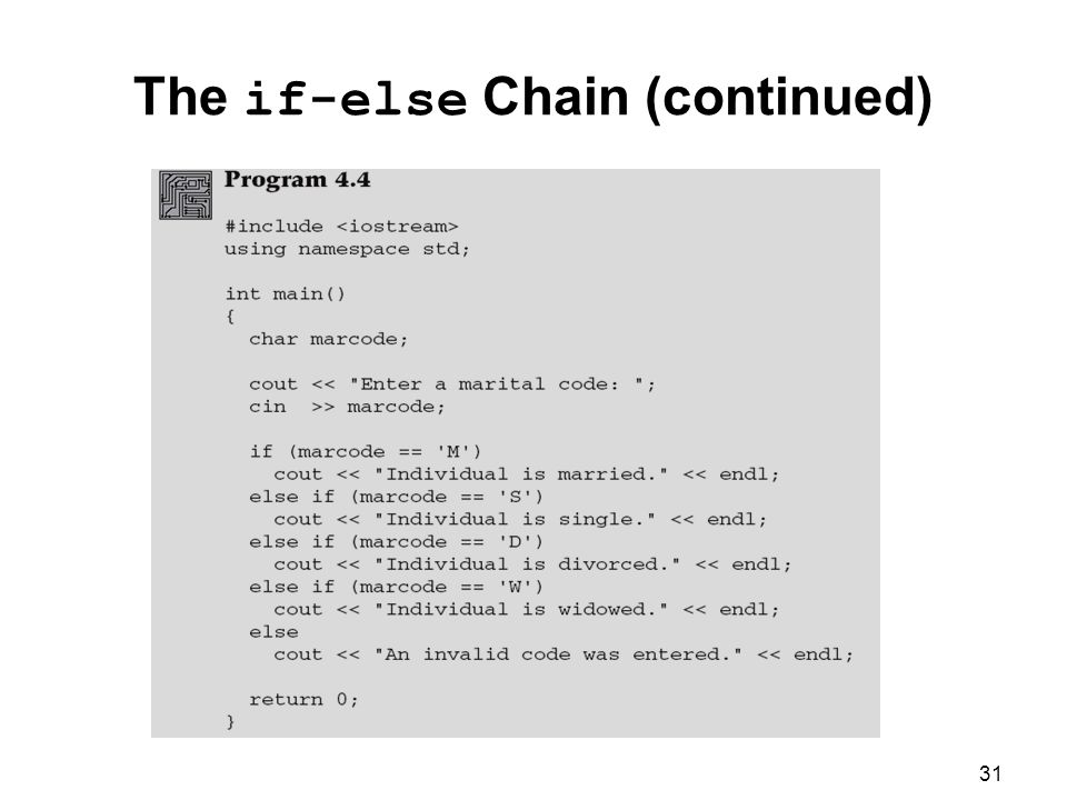 31 The if-else Chain (continued)