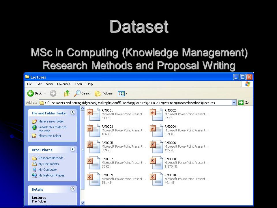 Dataset MSc in Computing (Knowledge Management) Research Methods and Proposal Writing