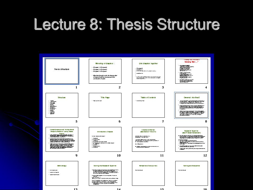 Lecture 8: Thesis Structure