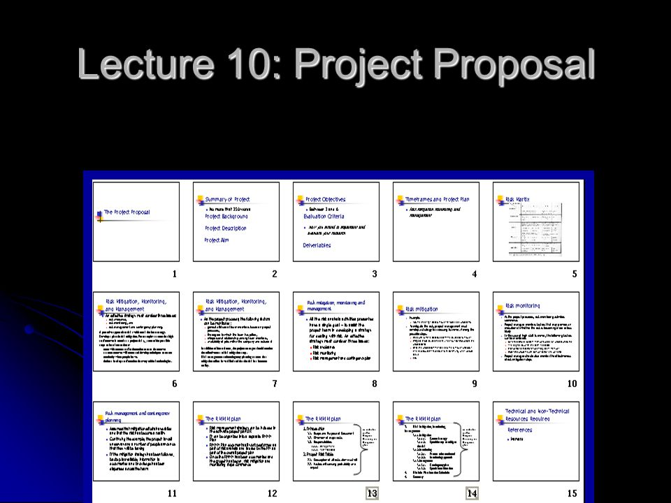 Lecture 10: Project Proposal