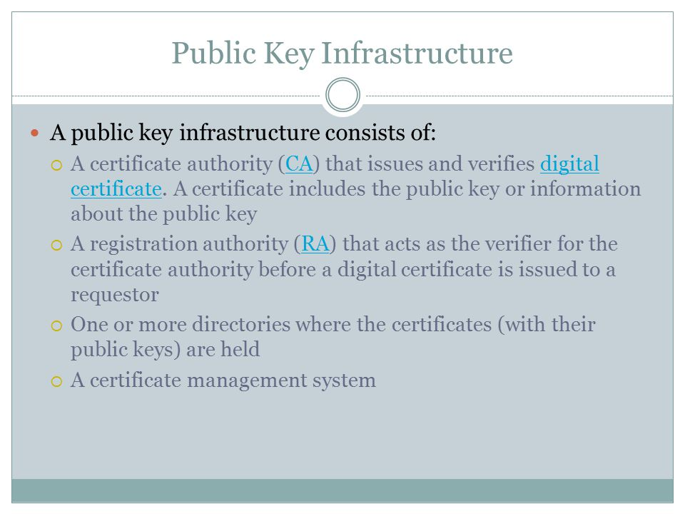 Public Key Infrastructure A public key infrastructure consists of:  A certificate authority (CA) that issues and verifies digital certificate.