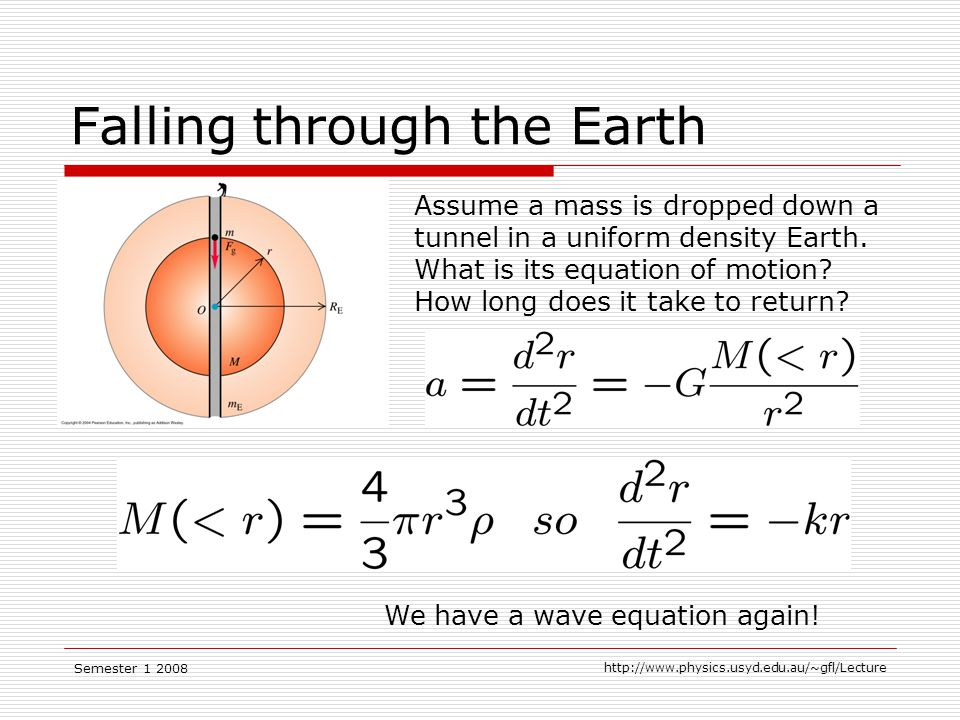 Semester Falling through the Earth Assume a mass is dropped down a tunnel in a uniform density Earth.