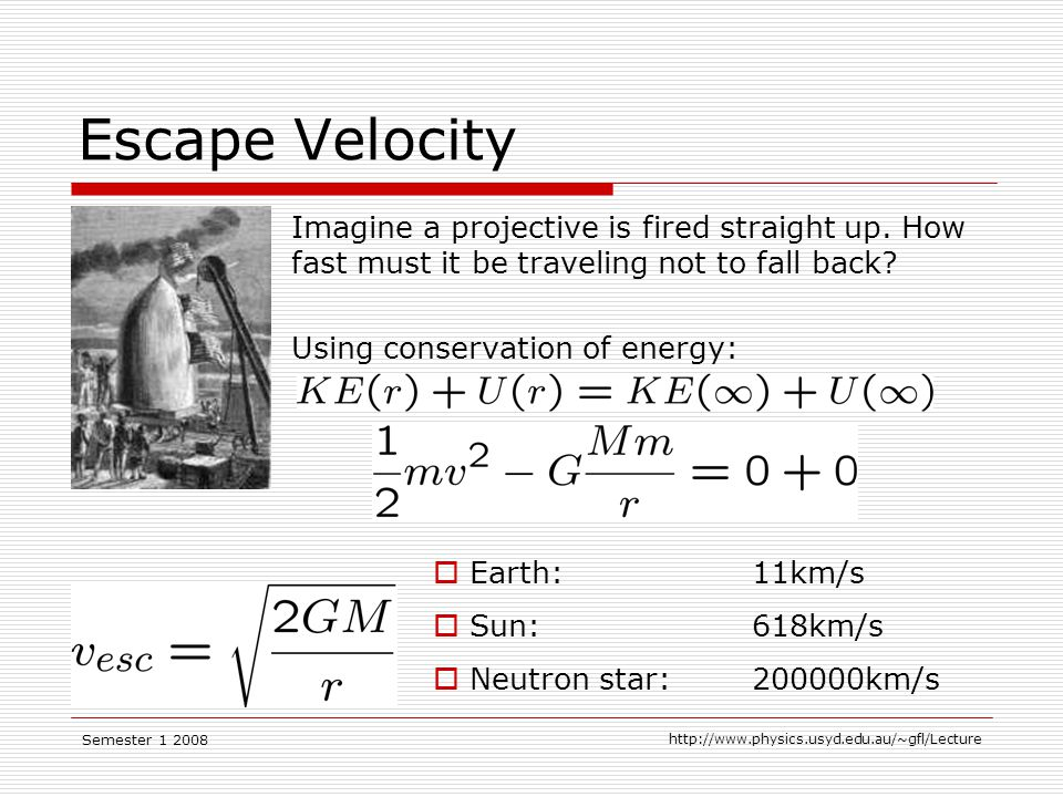Semester Escape Velocity Imagine a projective is fired straight up.