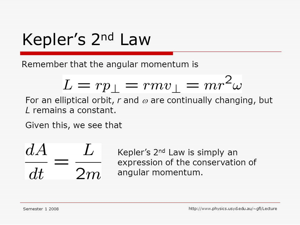 Semester Kepler's 2 nd Law Remember that the angular momentum is For an elliptical orbit, r and  are continually changing, but L remains a constant.