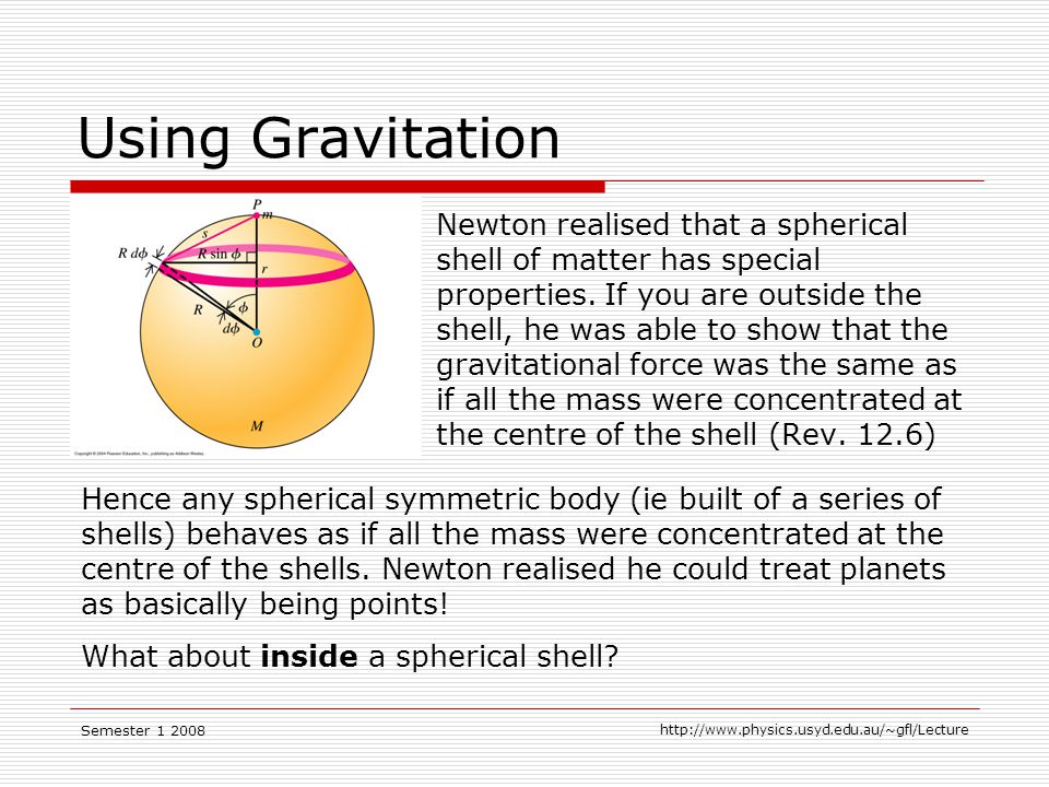 Semester Using Gravitation Newton realised that a spherical shell of matter has special properties.