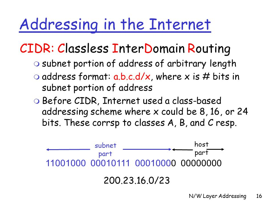 N/W Layer Addressing16 Addressing in the Internet CIDR: Classless InterDomain Routing m subnet portion of address of arbitrary length m address format: a.b.c.d/x, where x is # bits in subnet portion of address m Before CIDR, Internet used a class-based addressing scheme where x could be 8, 16, or 24 bits.
