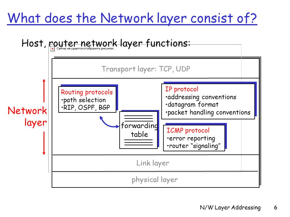 N/W Layer Addressing6 What does the Network layer consist of.