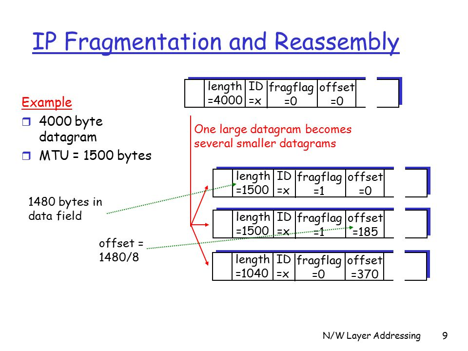 N/W Layer Addressing9 IP Fragmentation and Reassembly ID =x offset =0 fragflag =0 length =4000 ID =x offset =0 fragflag =1 length =1500 ID =x offset =185 fragflag =1 length =1500 ID =x offset =370 fragflag =0 length =1040 One large datagram becomes several smaller datagrams Example r 4000 byte datagram r MTU = 1500 bytes 1480 bytes in data field offset = 1480/8