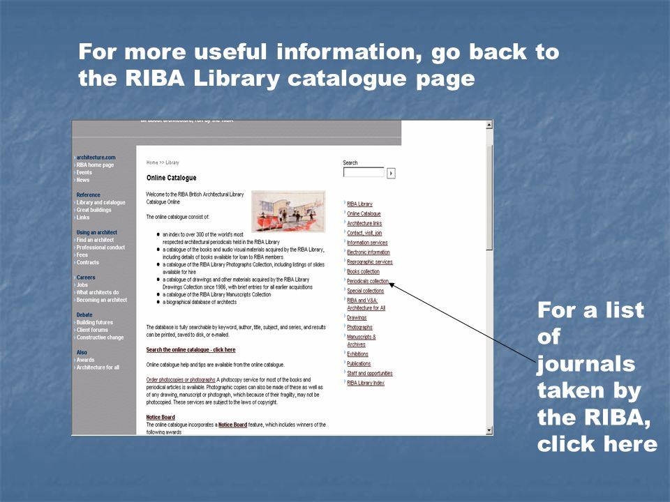 For a list of journals taken by the RIBA, click here For more useful information, go back to the RIBA Library catalogue page