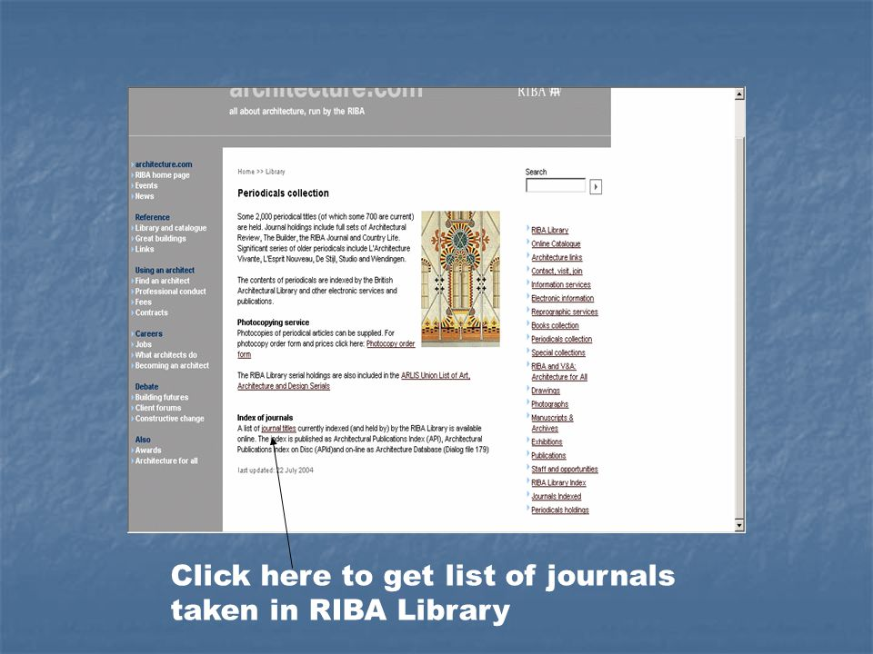 Click here to get list of journals taken in RIBA Library