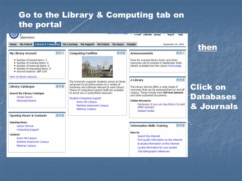 Go to the Library & Computing tab on the portal Click on Databases & Journals then