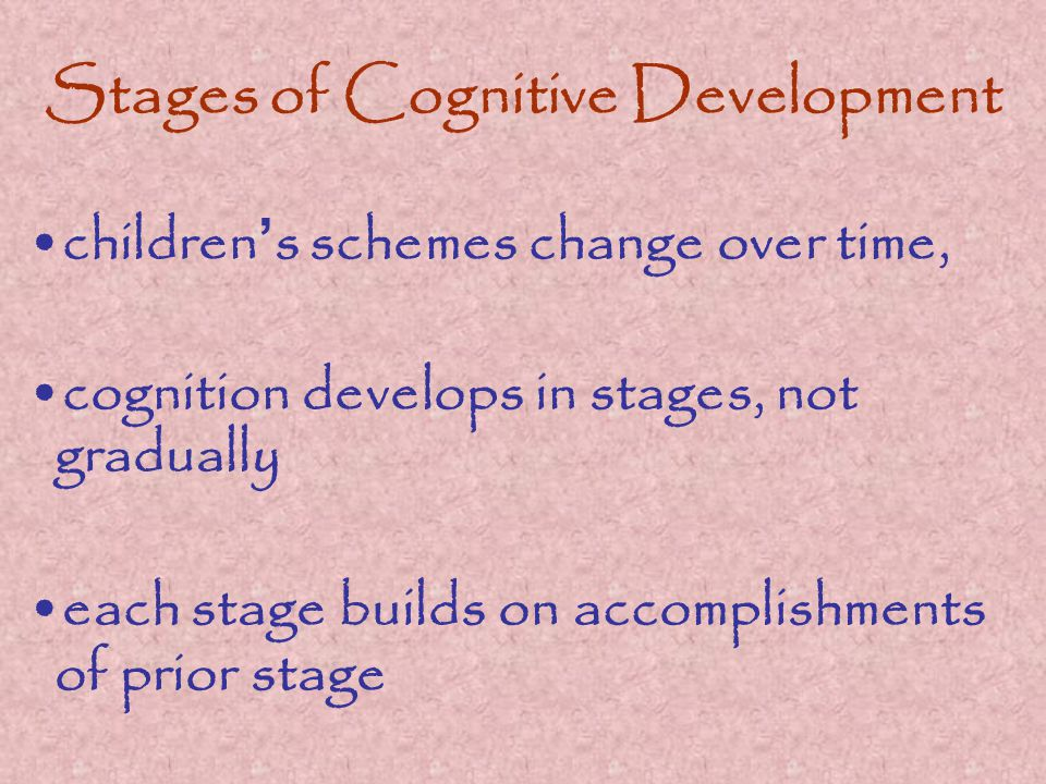 Stages of Cognitive Development children ' s schemes change over time, cognition develops in stages, not gradually each stage builds on accomplishments of prior stage