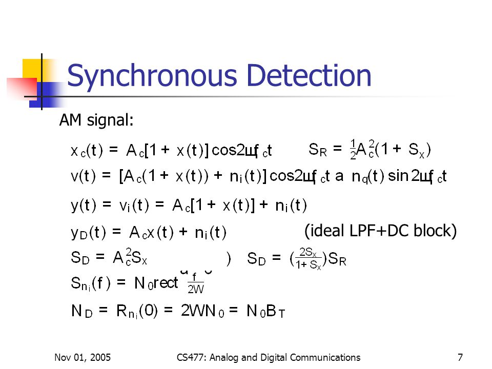 Nov 01, 2005CS477: Analog and Digital Communications7 Synchronous Detection AM signal: (ideal LPF+DC block)