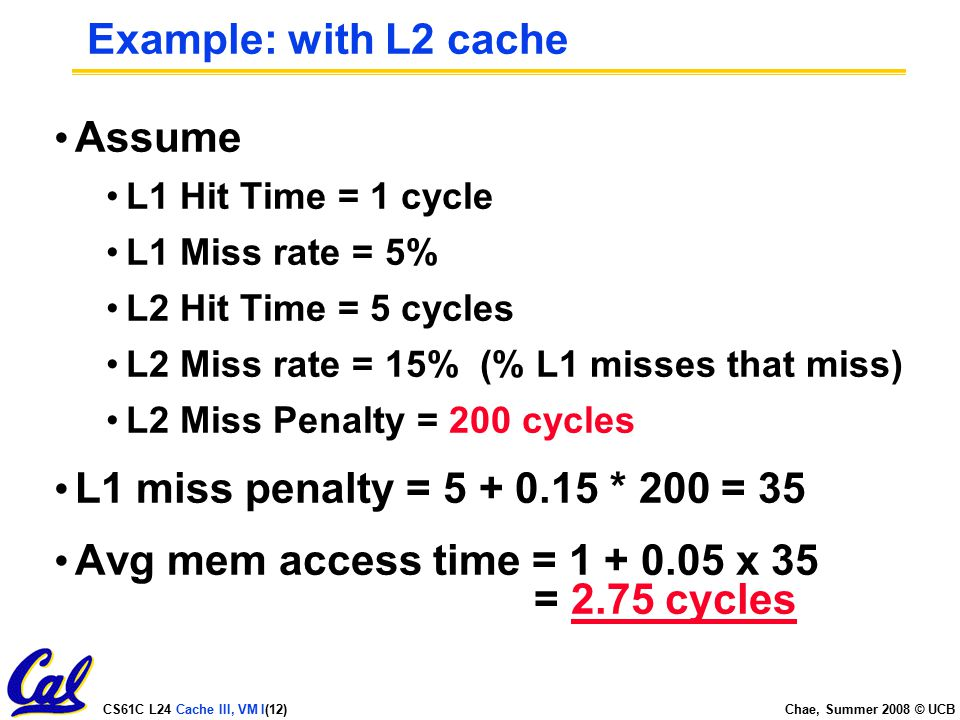 CS61C L24 Cache III, VM I(12) Chae, Summer 2008 © UCB Example: with L2 cache Assume L1 Hit Time = 1 cycle L1 Miss rate = 5% L2 Hit Time = 5 cycles L2 Miss rate = 15% (% L1 misses that miss) L2 Miss Penalty = 200 cycles L1 miss penalty = * 200 = 35 Avg mem access time = x 35 = 2.75 cycles