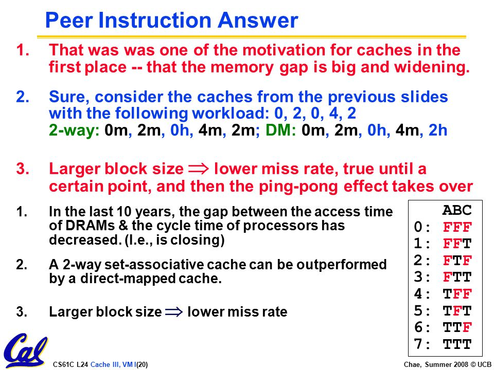 CS61C L24 Cache III, VM I(20) Chae, Summer 2008 © UCB Peer Instruction Answer 1.