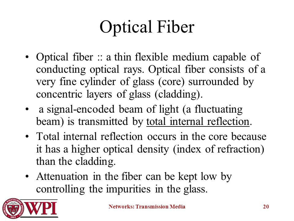 Networks: Transmission Media20 Optical Fiber Optical fiber :: a thin flexible medium capable of conducting optical rays.