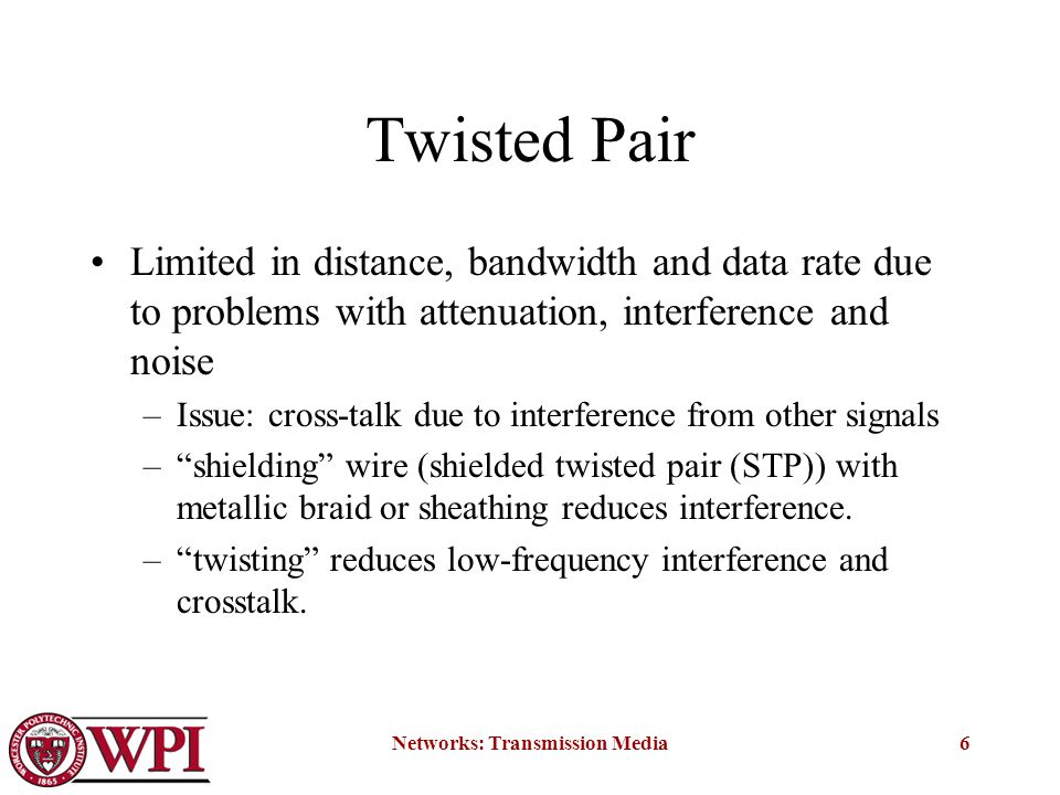 Networks: Transmission Media6 Twisted Pair Limited in distance, bandwidth and data rate due to problems with attenuation, interference and noise –Issue: cross-talk due to interference from other signals – shielding wire (shielded twisted pair (STP)) with metallic braid or sheathing reduces interference.