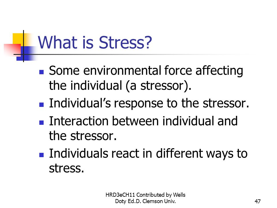 HRD3eCH11 Contributed by Wells Doty Ed.D. Clemson Univ.47 What is Stress.