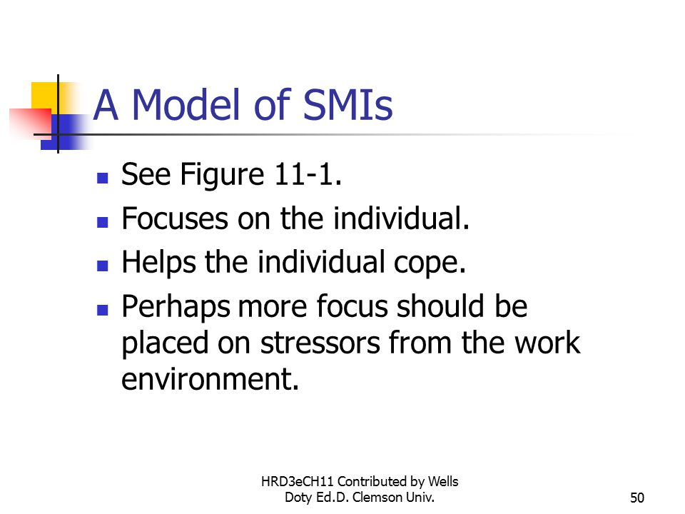 HRD3eCH11 Contributed by Wells Doty Ed.D. Clemson Univ.50 A Model of SMIs See Figure
