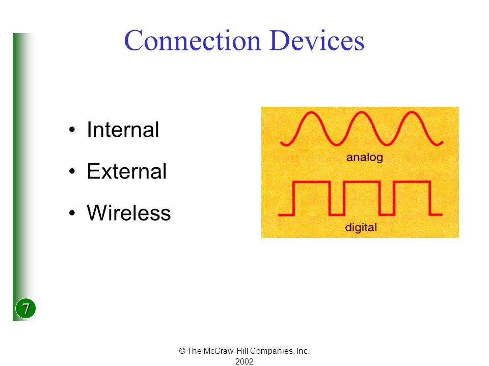 7 © The McGraw-Hill Companies, Inc Connection Devices Internal External Wireless