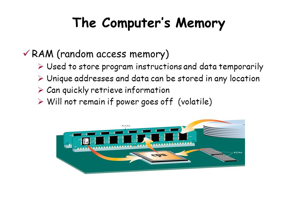 The Computer's Memory RAM (random access memory)  Used to store program instructions and data temporarily  Unique addresses and data can be stored in any location  Can quickly retrieve information  Will not remain if power goes off (volatile)